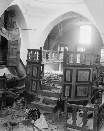 Synagogue in Hebron desecrated by Arab rioters, August 1929. (Courtesy of the Library of Congress, Prints and Photographs Division.)