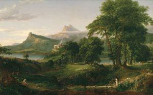 The Arcadian or Pastoral State, the second painting in The Course of Empire by Thomas Cole, 1834. Note  the size of the human figures in relation to the landscape. (Courtesy of the New York Historical Society.)