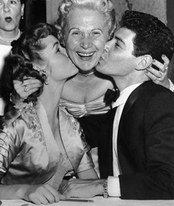 Jennie Grossinger with Debbie Reynolds and Eddie Fisher at Grossinger's Catskill Resort Hotel, mid-1950s.