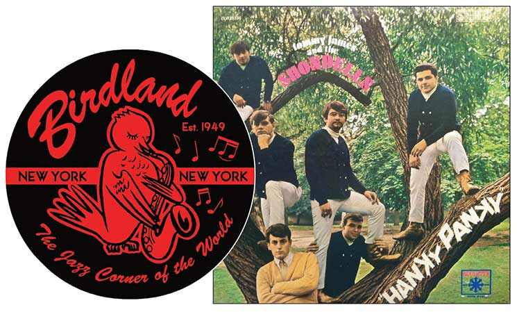 "Left: Logo of Birdland, established 1949, New York City. Right: LP cover of  Tommy James and the Shondells' ""Hanky Panky,"" produced by Roulette Records, 1966."