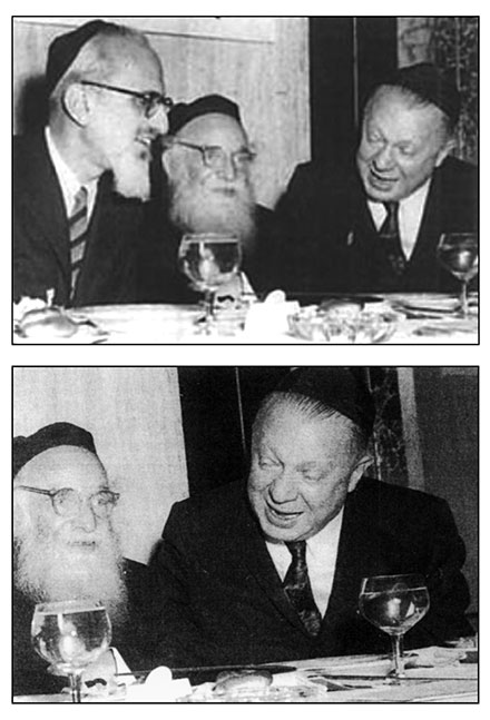 Top: Rabbis Joseph B. Soloveitchik and Aaron Kotler with Irving Bunim at a Chinuch Atzmai dinner, 1956.  Bottom: The cropped version, which appeared in Yitzchok Dershowitz's The Legacy of Maran Rav Aharon Kotler.  (Courtesy of The Littman Library of Jewish Civilization.)