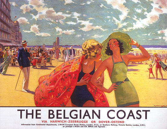 Poster promoting travel from Harwich and Dover to Zeebrugge and Ostend, Belgium, ca. 1930s. Artwork by Arthur C. Michael. (Science & Society Picture Library/Getty Images.)