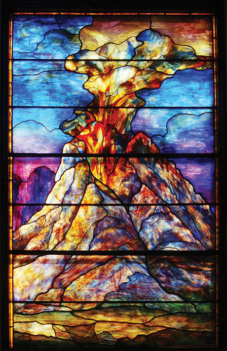 Stained glass window depicting Mt. Sinai by Louis C. Tiffany, sanctuary of Congregation Beth Ahabah, Richmond, Virginia. (Photo by Jennifer Watson, © Beth Ahabah Museum and Archives.)