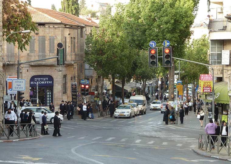 Kikar Shabbos (Shabbat Square), the intersection between Geula and Mea Shearim, Jerusalem.