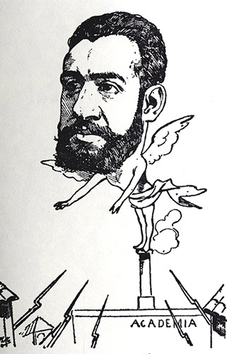 Caricature of Dr. Ángel Pulido Fernández, from a 19th-century satirical magazine. (Courtesy of the Royal Academy of Medicine, Madrid.)