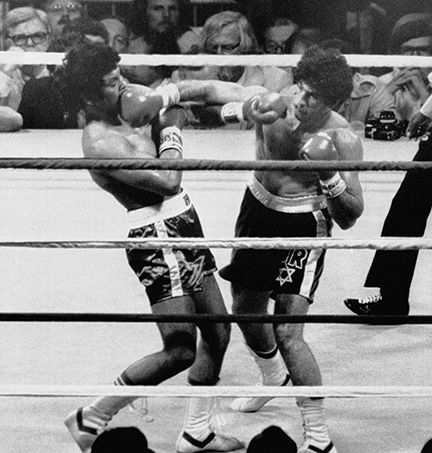Mike Rossman, right, and Victor Galindez during their championship fight in the New Orlean Superdome, September 1978. (© Bettman Archive.)