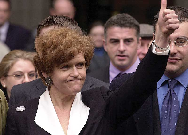 Deborah E. Lipstadt exults after winning the libel case brought against her and Penguin Books by British revisionist historian David Irving, April 2000. (Martyn Hayhow/AFP/Getty Images.)