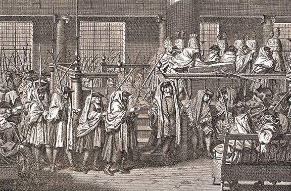 Hoshana Rabbah procession, the seventh day of Sukkot, Amsterdam Synagogue. Etching by Bernard Picart from Cérémonies, ca. 1772.