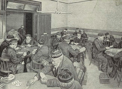 Cards and Dominos in the Smoking Room, the Hebrew Home for the Aged,  Harlem, ca. late 1890s. (Courtesy of the The New York Public Library, Art and Picture Collection.)
