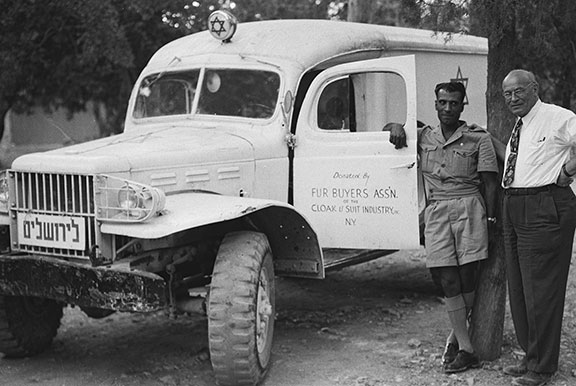 Congressman Emanuel Celler with an American-donated ambulance, Jerusalem, 1948. (Photo by Hugo Mendelson, Government Press Office, Israel.)