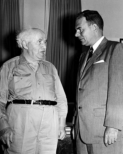 Former New York Governor Thomas E. Dewey visiting David Ben-Gurion, Jerusalem, October 5, 1955. (Photo by Moshe Pridan, Government Press Office, Israel.)