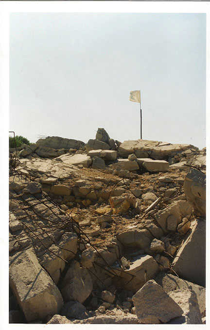 A Hezbollah flag flies over the remains of the Pumpkin fort in Southern Lebanon, 2002. (Courtesy of the author.)
