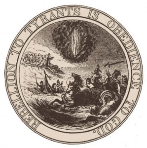 Interpretation of Benjamin Franklin's Great Seal proposal, Benson Lossing, 1856.