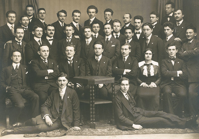 Group photo of a Prague Zionist student organization, February 1913.