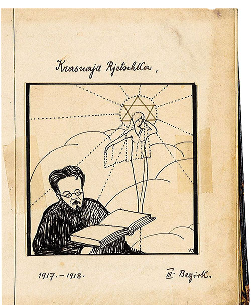 Self portrait drawing by Hans Kohn from his prison notebook.
