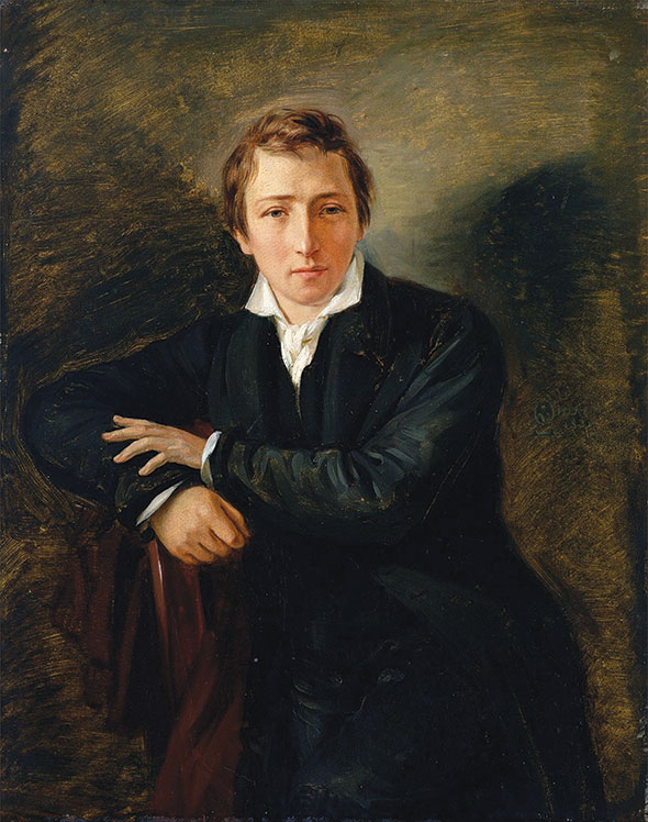 Painting of the poet Heinrich Heine leaning against a chair.