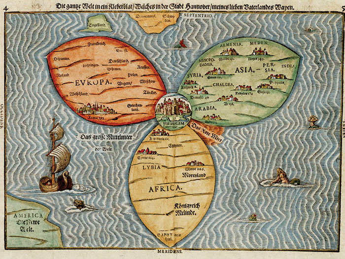 Colorful woodcut map with Jerusalem as the center of the world, with Europe, Asia, and Africa extending out from it.