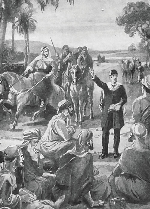 Illustration of Joseph Wolff preaching in Palestine to a group of people.