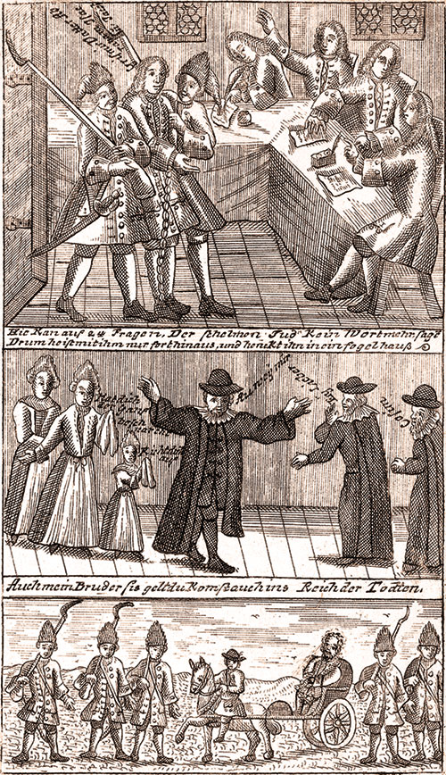 Illustrations from Joseph Süss Oppenheimer's trial depicting the inquisition and transport to the execution.