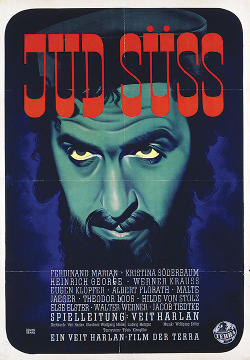 Poster for the first screening of Jud Süss featuring a frightening illustration of a man's face.