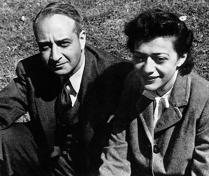 Photo of Lionel and Diana Trilling sitting in the grass.