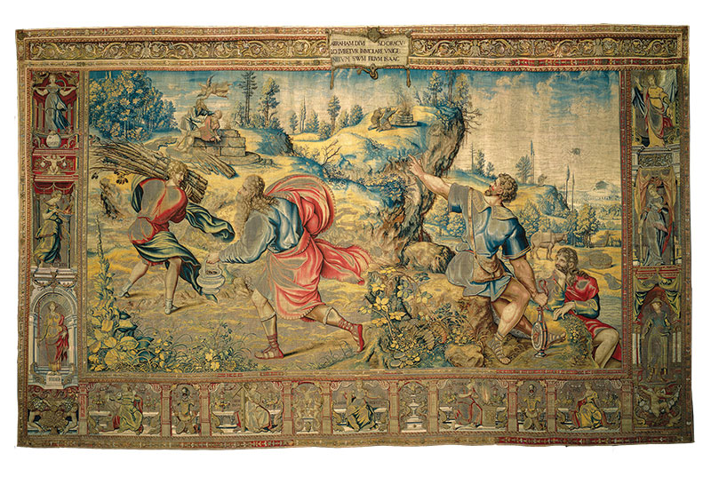 Tapestry depicting the sacrifice of Isaac.