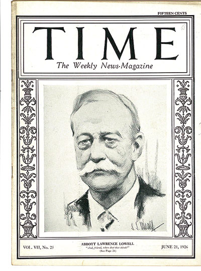 Time magazine cover featuring Abbott Lawrence Lowell.