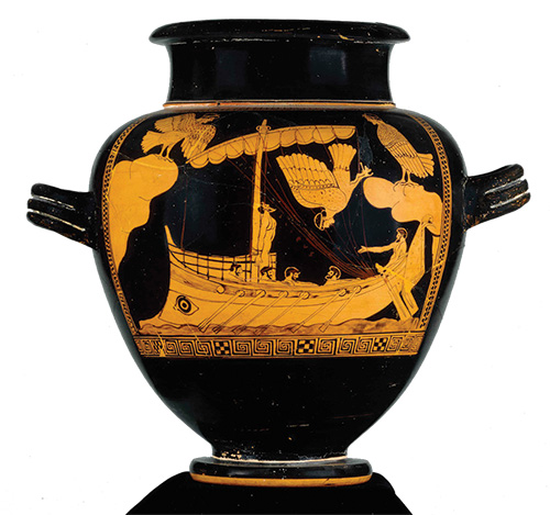 Photo of a vase depicting the ship of Odysseus passing the sirens.