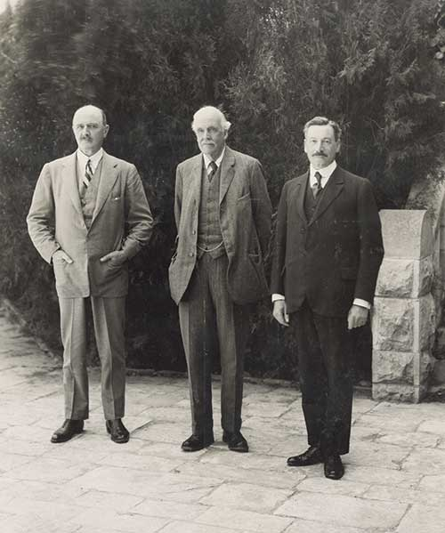 """The Palestine Trio"": Field Marshal Lord Allenby, Lord Balfour, and Sir Herbert Samuel"