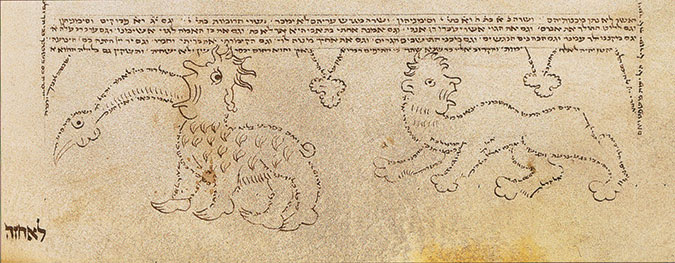 A page from a Christian Bible with drawings of animals
