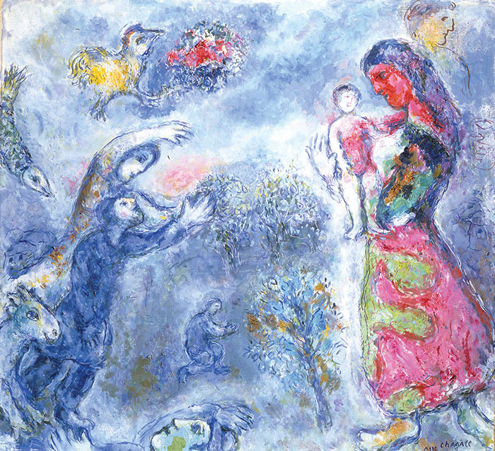 Chagall painting of woman cradling baby