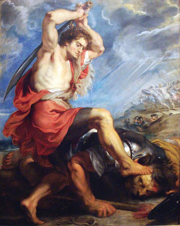 Painting of David Slaying Goliath
