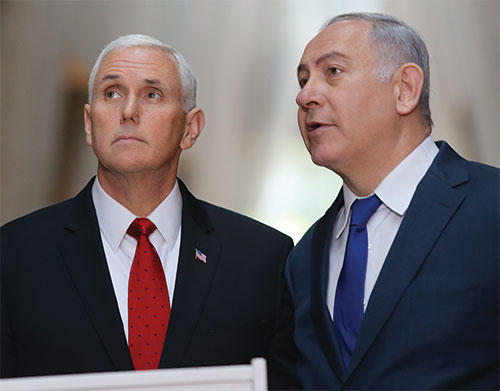 Photo of U.S. Vice President Mike Pence and Israeli Prime Minister Benjamin Netanyahu