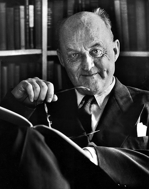 Black and white photo of Reinhold Niebuhr