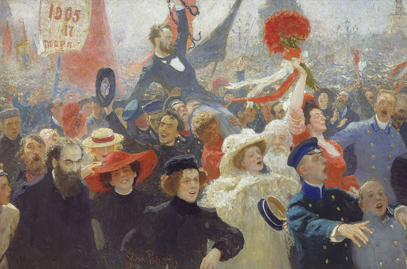Panting of a crowd of demonstrators