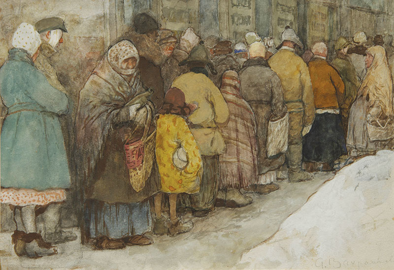 Painting of people bundled up and standing in line outdoors
