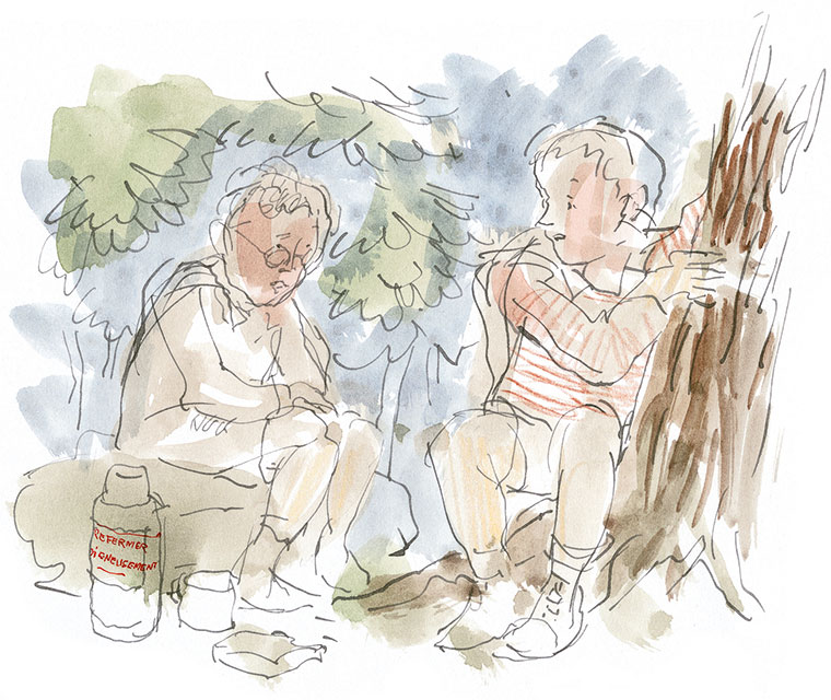 Illustration of two children sitting near a tree