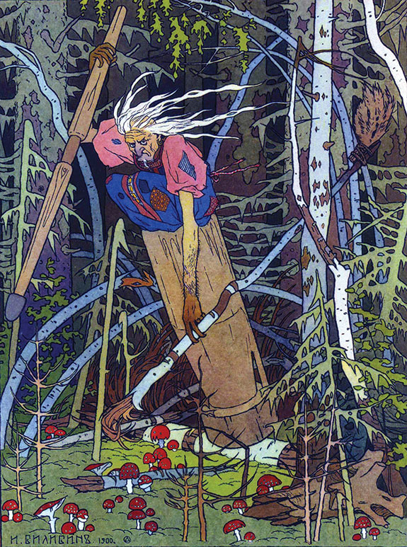 Colorful portrait of Baba Yaga, the mythical evil spirit