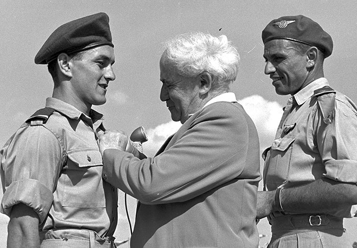 Prime Minister David Ben-Gurion and Israeli soldiers