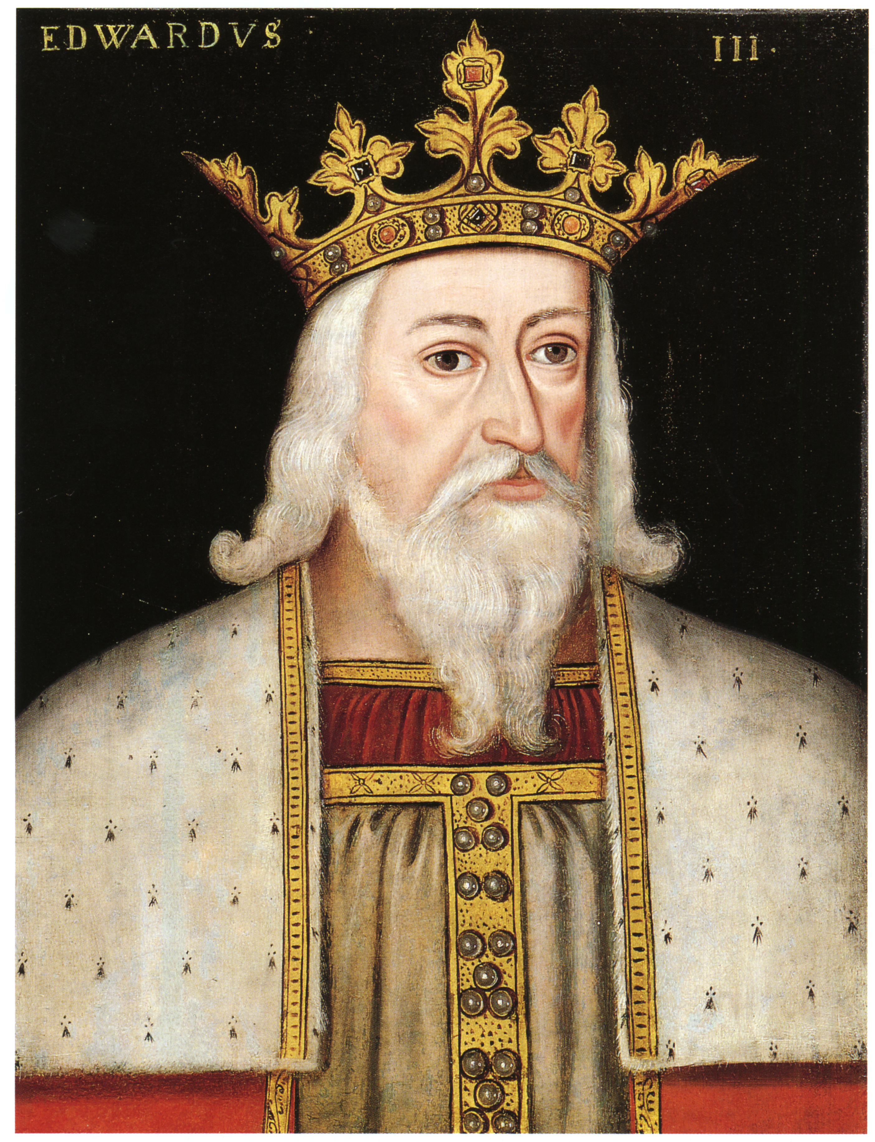 Painting of King Edward III of England wearing a large, elaborate gold crown.