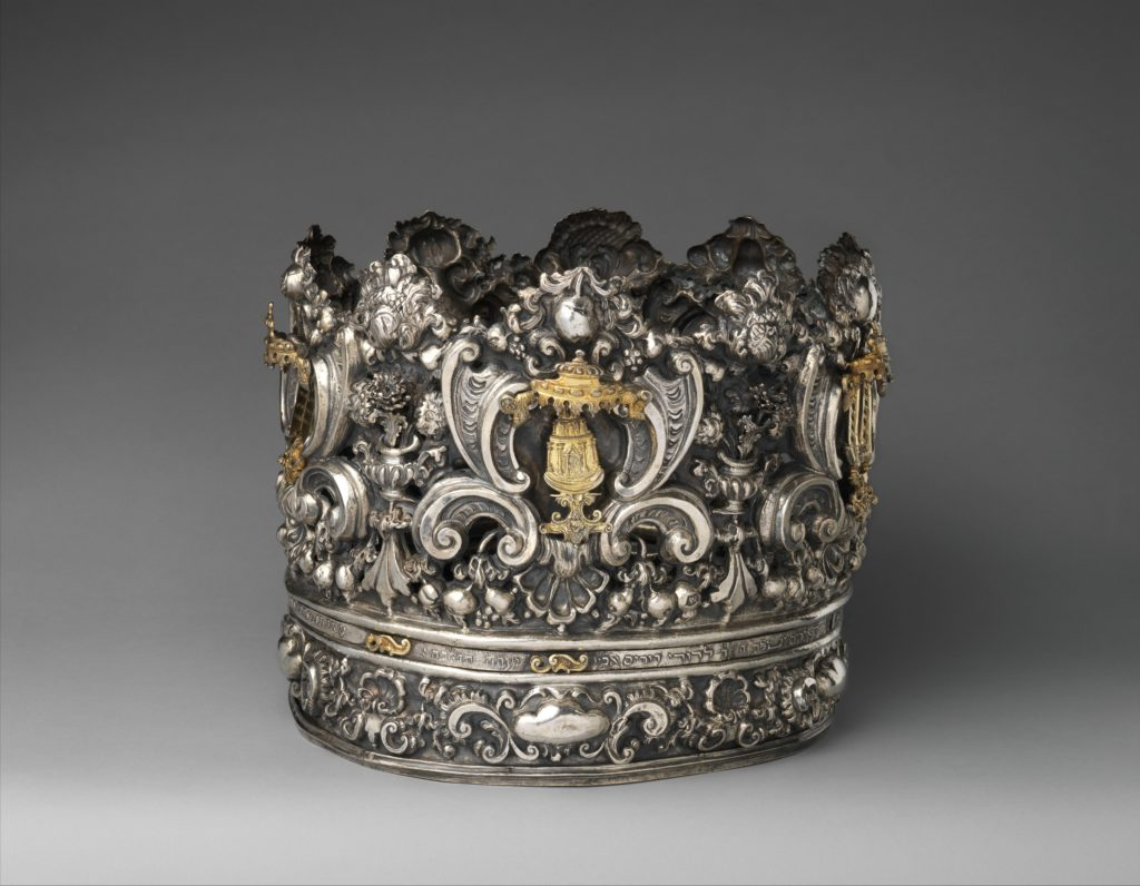 Photograph of an elaborate Torah crown from 18th century Italy.