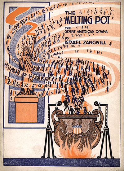 Illustrated program featuring a depiction of a melting pot.