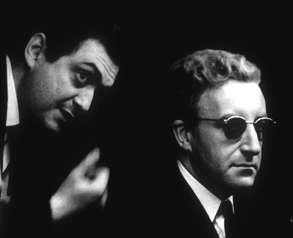 Black and white photo of Stanley Kubrick and Peter Sellers