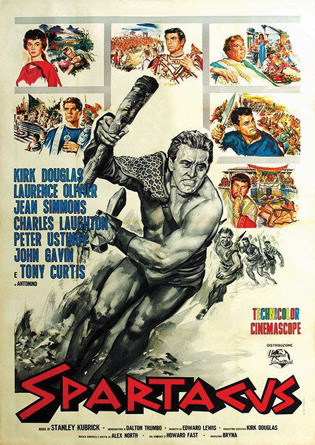 An illustrated Italian poster for the film Spartacus