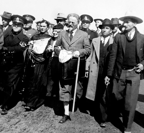 Leon Trotsky and his wife, Natalia, arrive in exile in the city of Tampico, Mexico surrounded by people