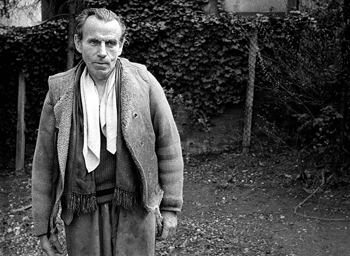 Black and white photo of Louis-Ferdinand Céline, Meudon, France