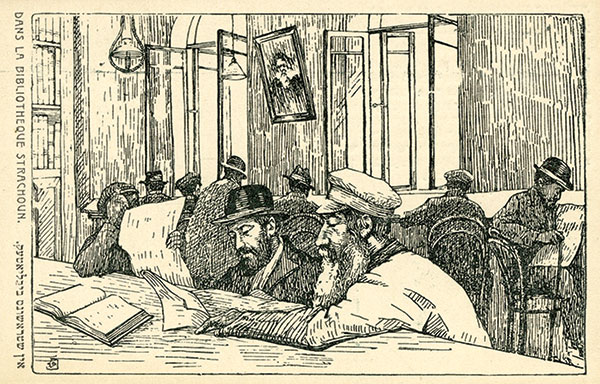 A postcard with an illustration of people in a library
