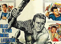cropped section from a movie poster for Spartacus, showing a black-and-white strongman weilding a club