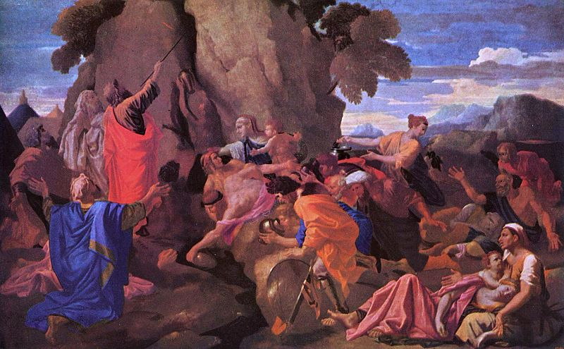 Classical painting of Moses striking a rock, surrounded by other figures