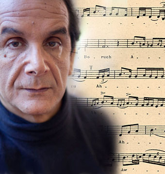 Photograph of Charles Krauthammer superimposed over Jewish sheet music.